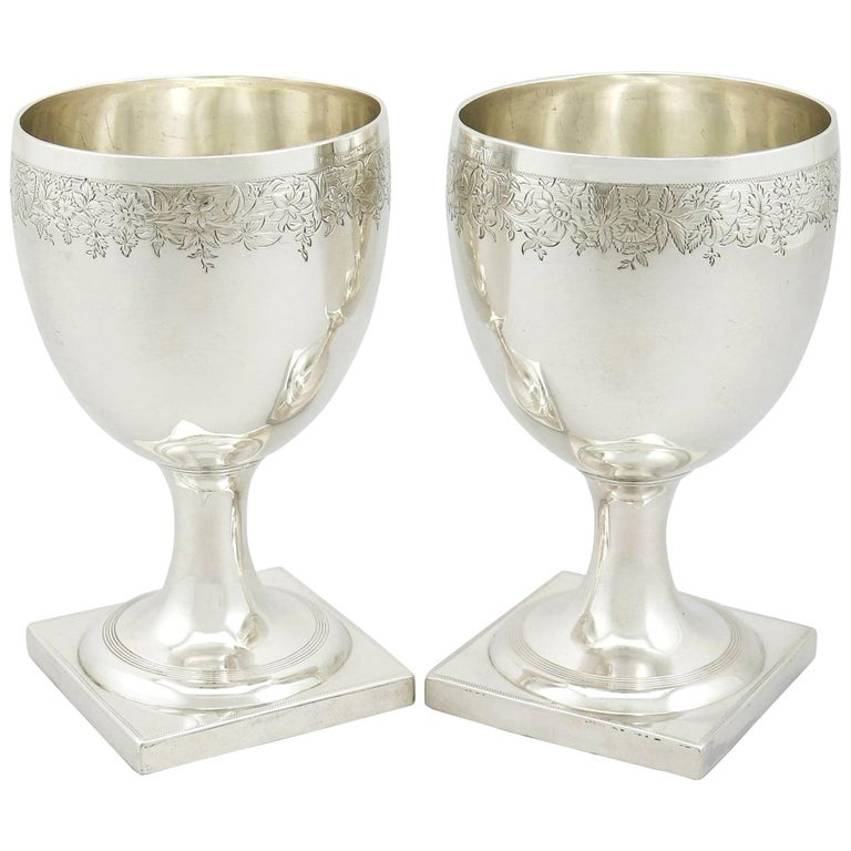 Antique George III 1800s Pair of Sterling Silver Goblets For Sale