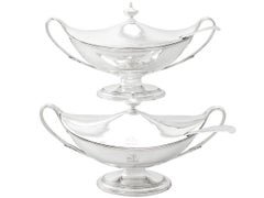 Antique George III Adams Style Sterling Silver Sauce Tureens with Ladles