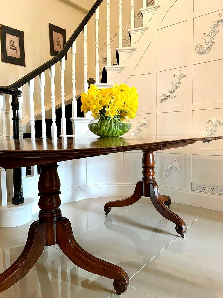 Antique George III Antique Mahogany Twin Pedestal Dining Table In Good Condition For Sale In Norwich, GB