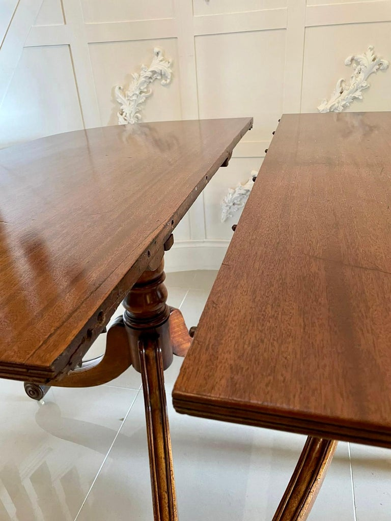 Antique George III Antique Mahogany Twin Pedestal Dining Table For Sale 1
