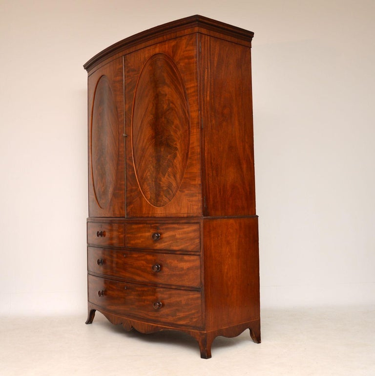 Inlay Antique George III Bow Fronted Linen Press For Sale