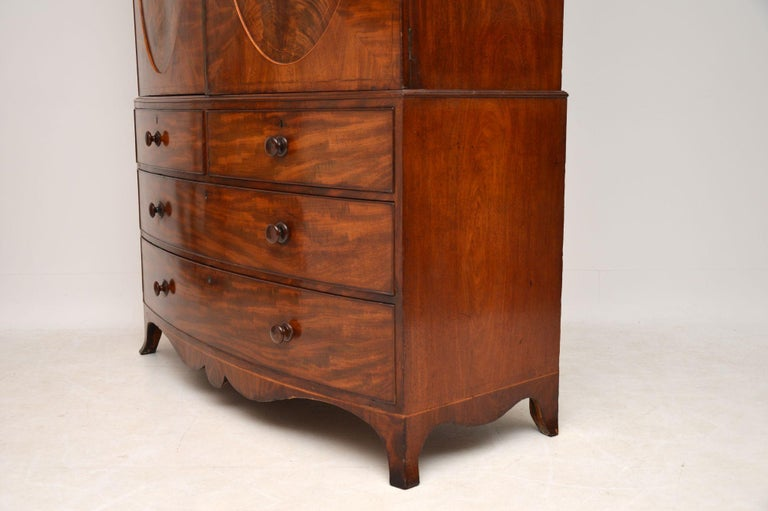Mahogany Antique George III Bow Fronted Linen Press For Sale