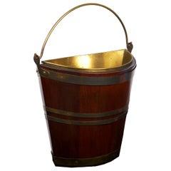 Antique George III Brass-Bound Mahogany Peat Bucket, 19th Century