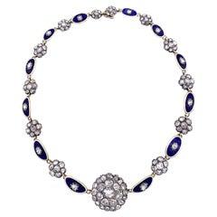 Antique George III Diamond Gold Enamel Necklace