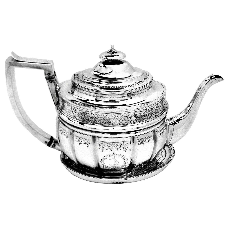 Antique George III Georgian Silver Teapot on Stand 1804 Tea Pot