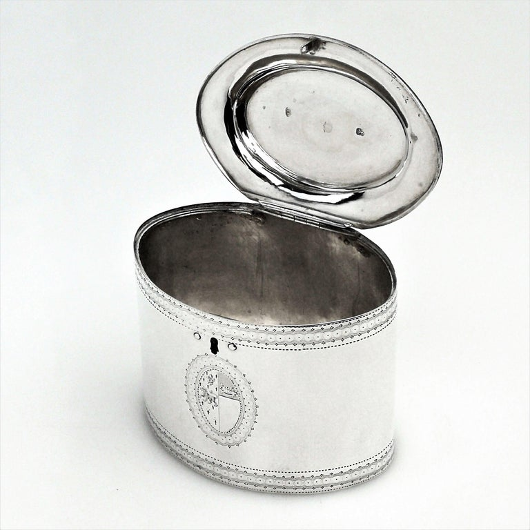 English Antique George III Georgian Sterling Silver Tea Caddy Box 1786 Oval