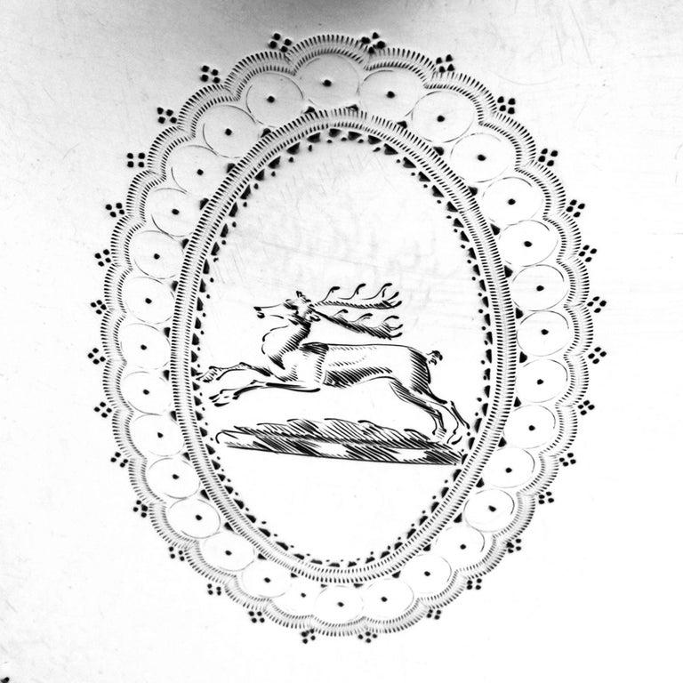 19th Century Antique George III Georgian Sterling Silver Tea Caddy Box 1786 Oval