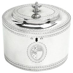 Antique George III Georgian Sterling Silver Tea Caddy Box 1786 Oval