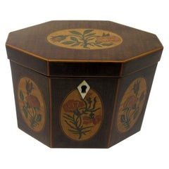 Antique George III Harewood Boxwood Inlaid Hexagonal Single Tea Caddy
