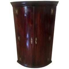 Antique George III Mahogany Hanging Bow Front Corner Cabinet
