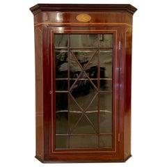 Antique George III Mahogany Inlaid Straight Front Hanging Corner Cupboard
