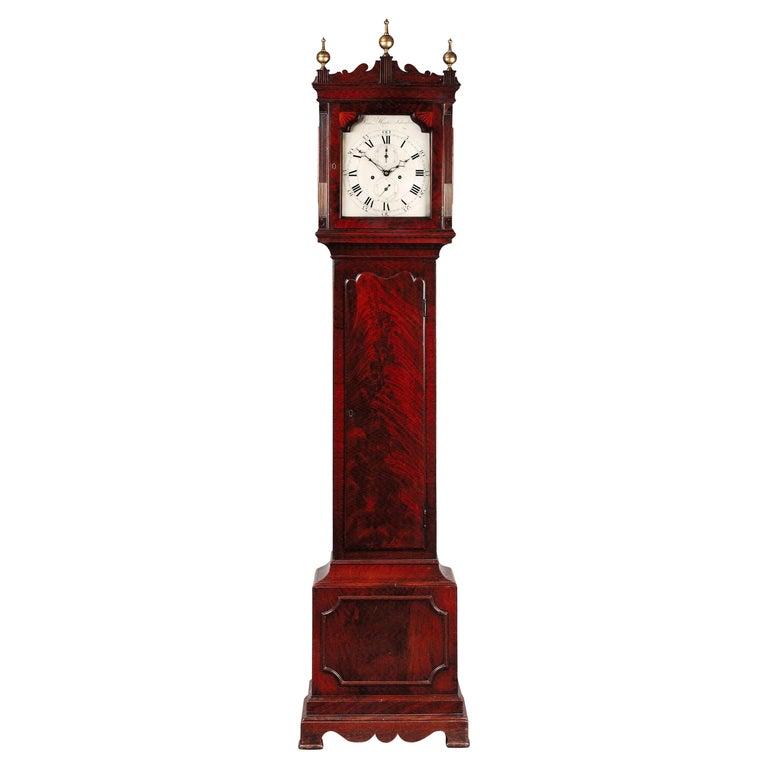 Antique George III Mahogany Longcase Clock by Samuel Hunter of Islington London For Sale