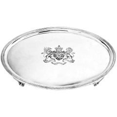 Antique George III Oval Silver Salver / Tray 1800, Georgian