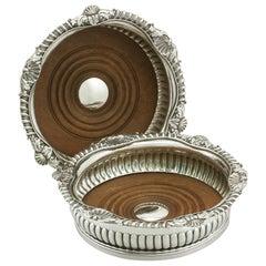 Antique George III Regency 1808 Sterling Silver Bottle Coasters by Paul Storr