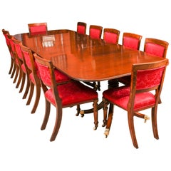 George III Regency Dining Table & 12 Upholstered Back Chairs, 19th Century