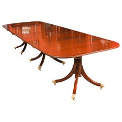 George III Regency Flame Mahogany Triple Pillar Dining Table 19th Century