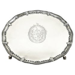 Antique George III Silver Salver / Tray / Platter 1775 Georgian Solid Silver