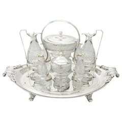 Antique George III Sterling Silver and Cut Glass Cruet Service by Paul Storr