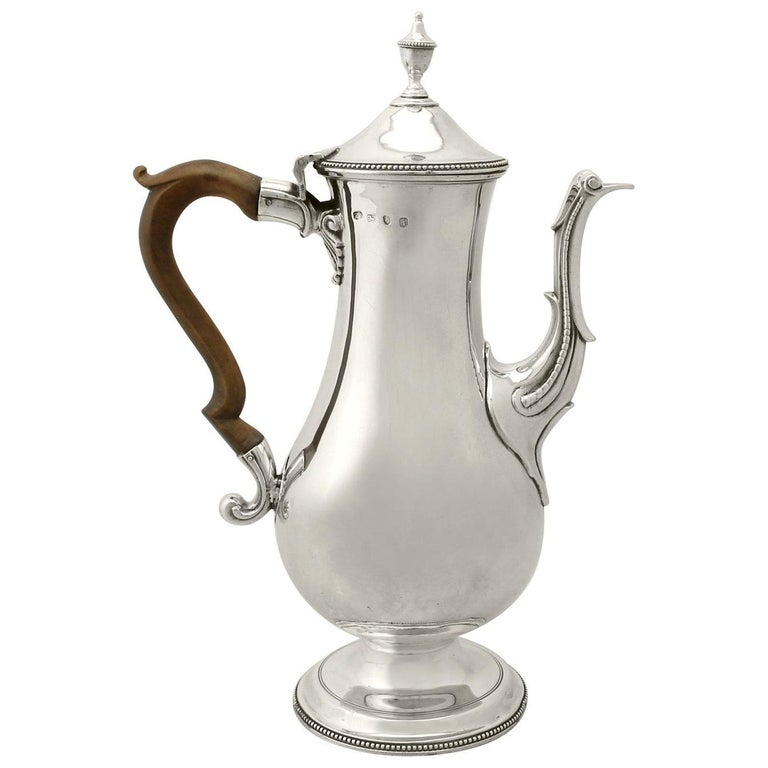 Antique George III Sterling Silver Coffee Pot by Hester Bateman For Sale