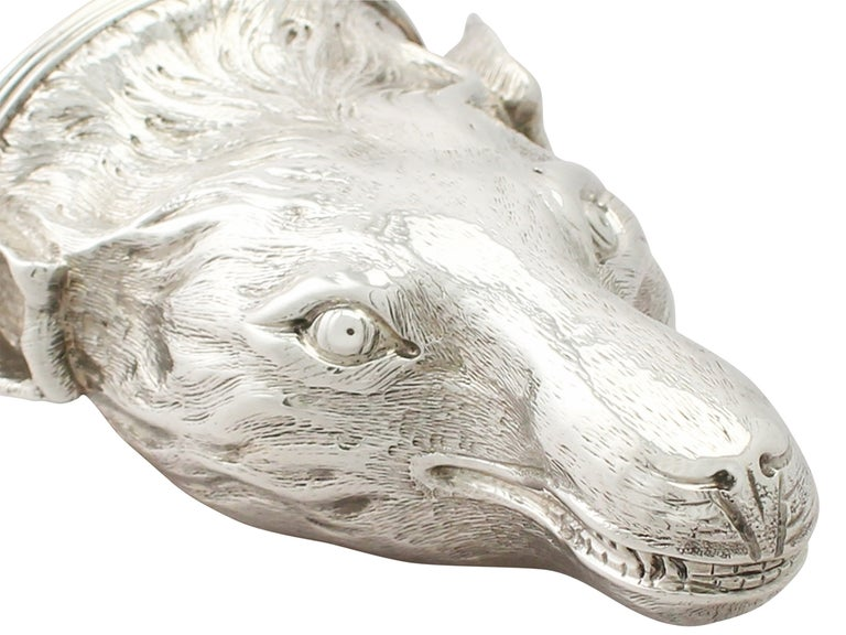 Early 19th Century Antique George III Sterling Silver Fox Head Stirrup Cup For Sale