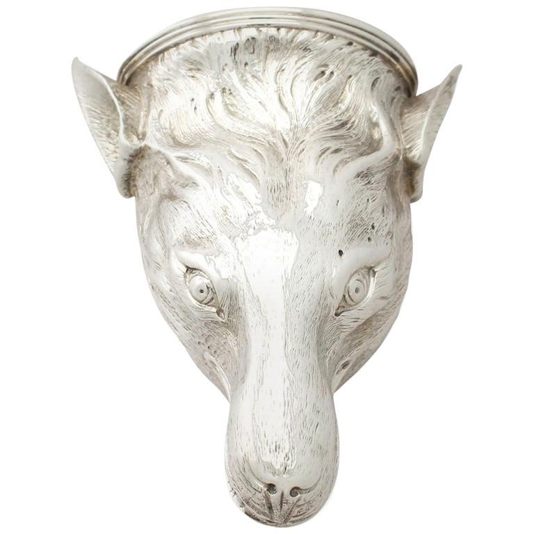 Antique George III Sterling Silver Fox Head Stirrup Cup For Sale
