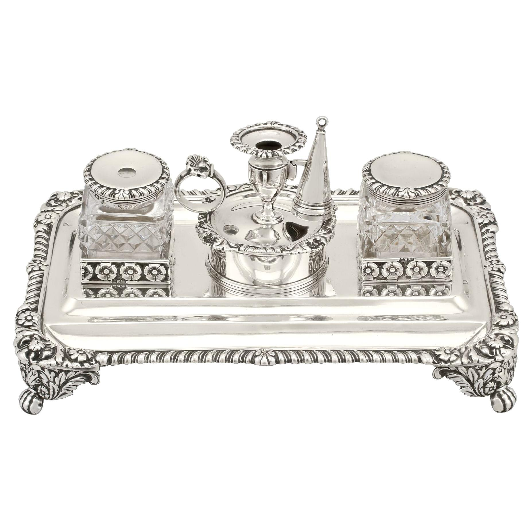 Antique George III Sterling Silver Inkstand