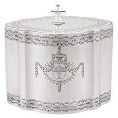 Antique George III Sterling Silver Locking Tea Caddy, 1782