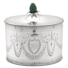 Antique George III Sterling Silver Locking Tea Caddy by Henry Chawner, 1786