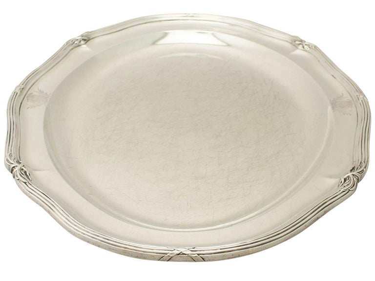 Georgian Antique George III Sterling Silver Meat Platter For Sale