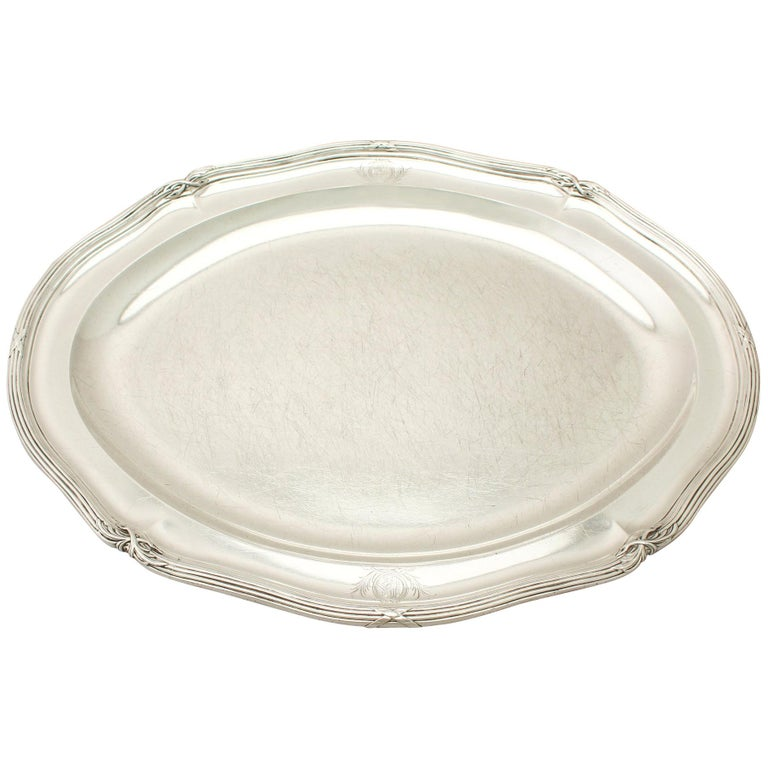 Antique George III Sterling Silver Meat Platter For Sale