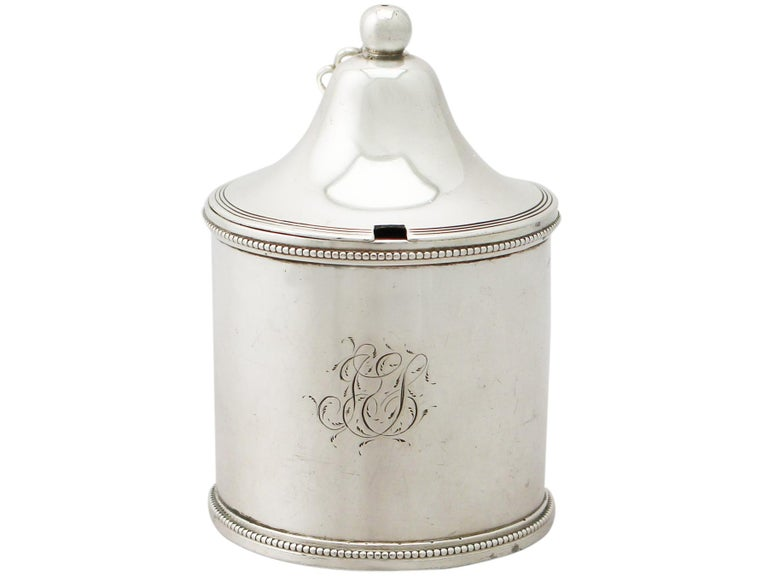 British Antique George III Sterling Silver Mustard Pot by Peter and Ann Bateman For Sale