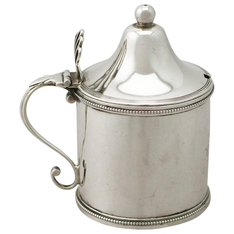Antique George III Sterling Silver Mustard Pot by Peter and Ann Bateman For Sale
