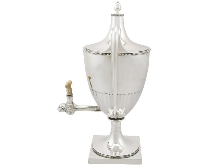 English Antique George III Sterling Silver Samovar For Sale