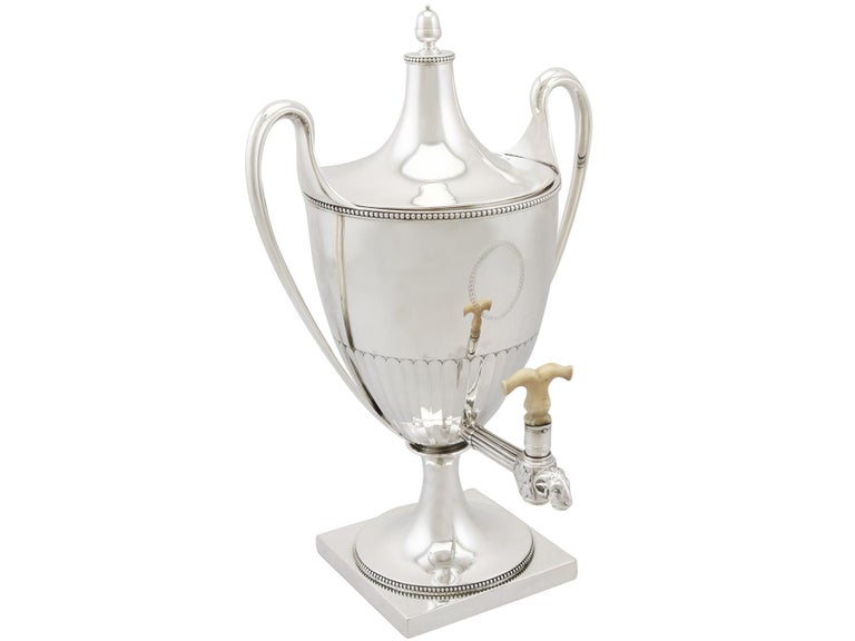 Late 18th Century Antique George III Sterling Silver Samovar For Sale