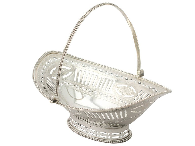 English Antique George III Sterling Silver Sweetmeat Basket For Sale