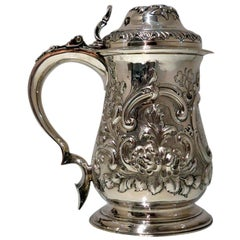Antique George III Sterling Silver Tankard and Cover London 1763 John Swift
