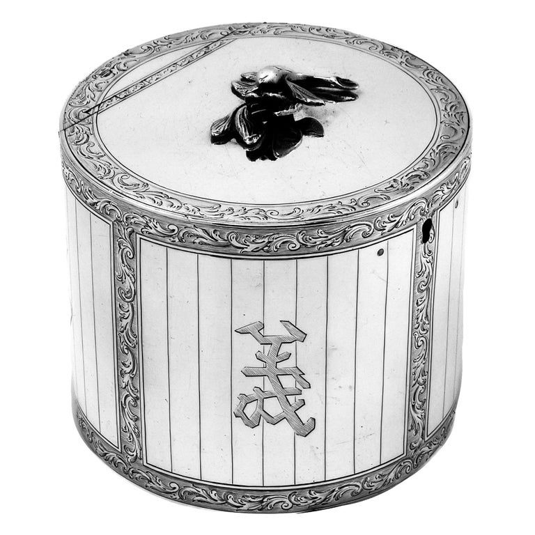George III Antique Georgian Sterling Silver Tea Caddy Box 1763 Chinoiserie For Sale