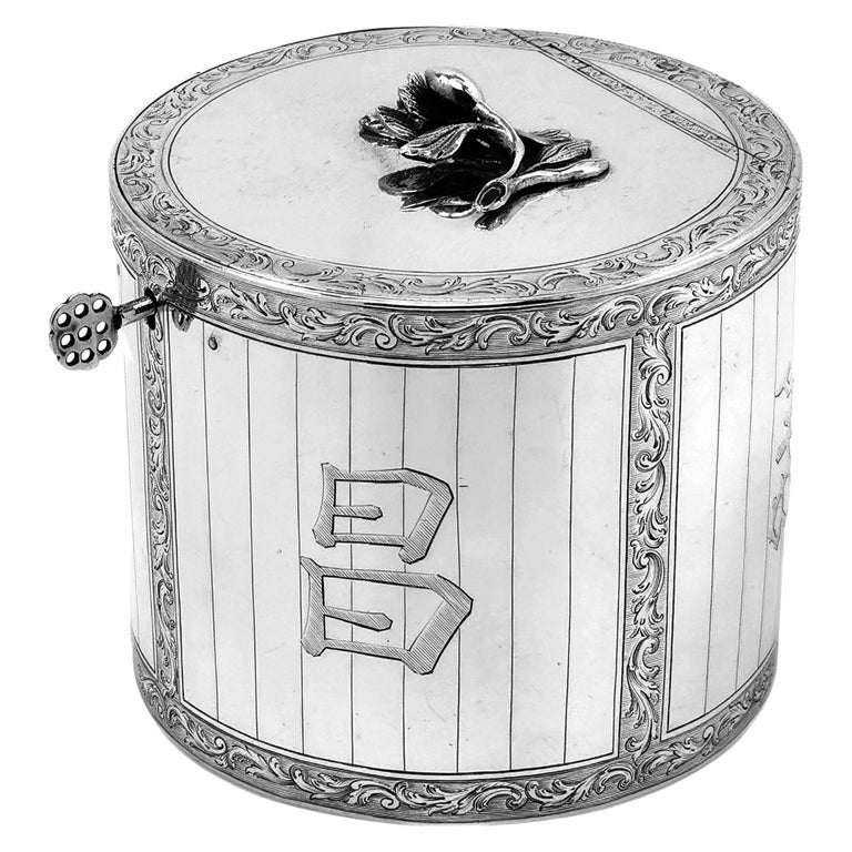 Antique Georgian Sterling Silver Tea Caddy Box 1763 Chinoiserie For Sale