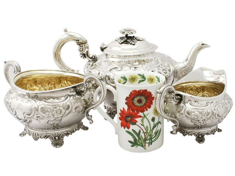 An exceptional, fine and impressive antique Georgian English sterling silver three-piece tea service/set; an addition to our silver teaware collection.