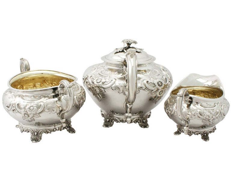 Georgian Antique George III Sterling Silver Three-Piece Tea Service For Sale