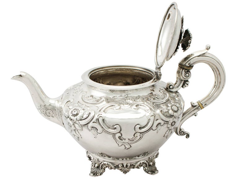 Early 19th Century Antique George III Sterling Silver Three-Piece Tea Service For Sale