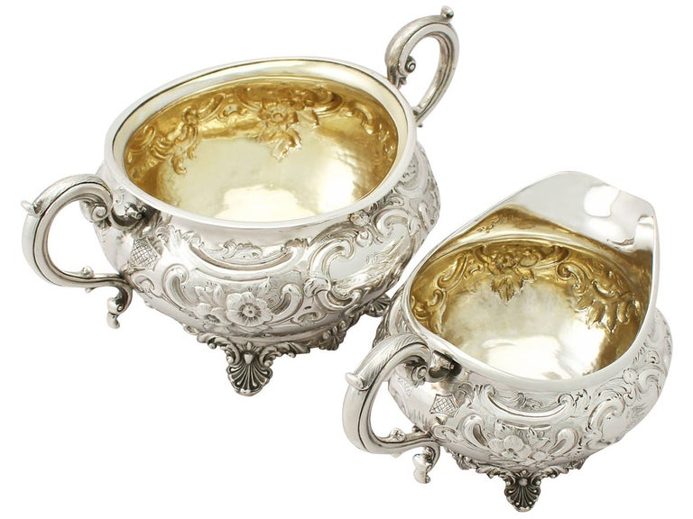 Antique George III Sterling Silver Three-Piece Tea Service For Sale 3