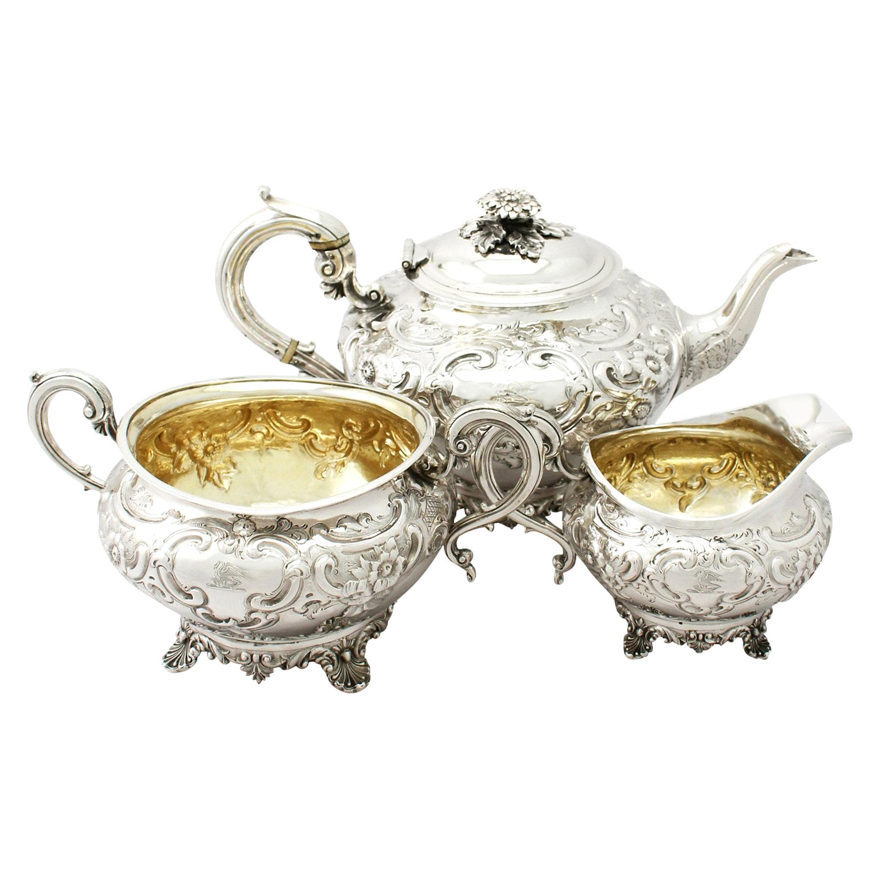 Antique George III Sterling Silver Three-Piece Tea Service