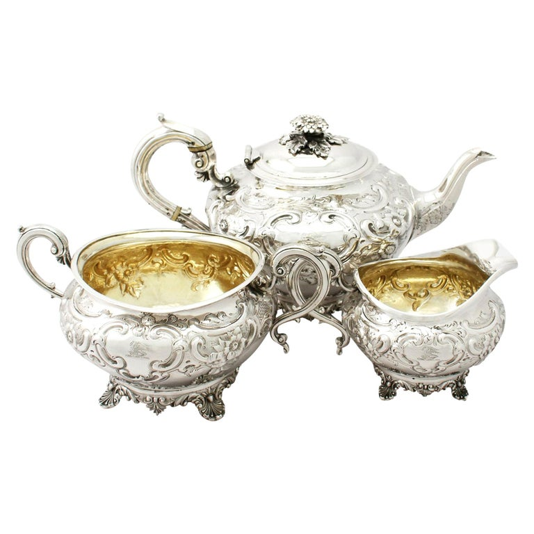 Antique George III Sterling Silver Three-Piece Tea Service For Sale