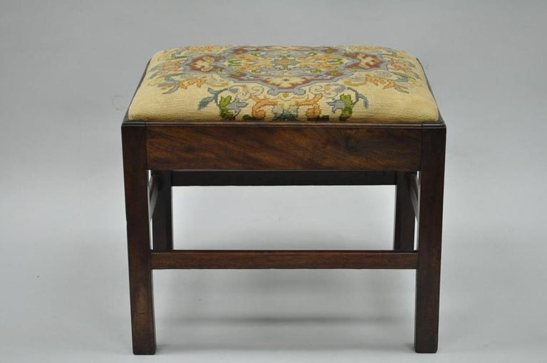 Antique George III Third English Solid Mahogany Needlepoint Bench Seat Chair For Sale 6