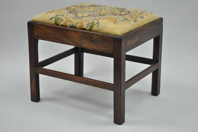 Antique George III Third English Solid Mahogany Needlepoint Bench Seat Chair For Sale 7