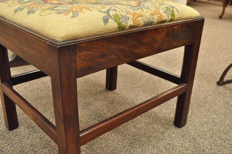 19th Century Antique George III Third English Solid Mahogany Needlepoint Bench Seat Chair For Sale
