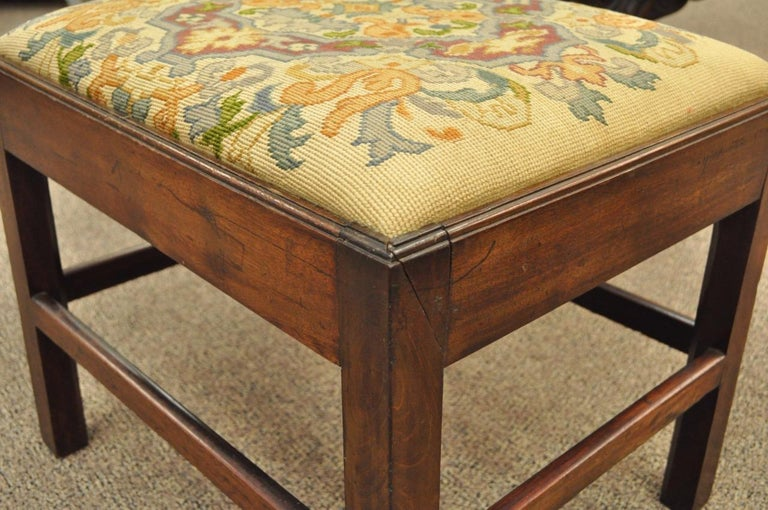 Antique George III Third English Solid Mahogany Needlepoint Bench Seat Chair For Sale 1