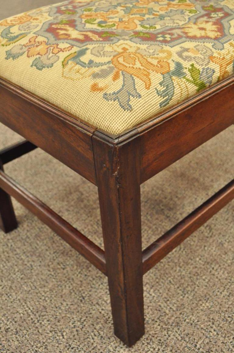 Antique George III Third English Solid Mahogany Needlepoint Bench Seat Chair For Sale 3