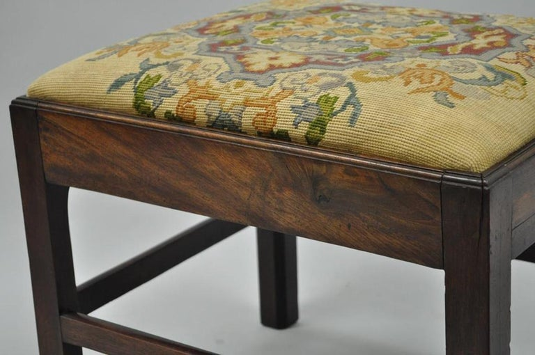 Antique George III Third English Solid Mahogany Needlepoint Bench Seat Chair For Sale 5